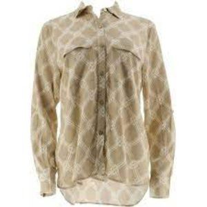C Wonder Bamboo Print Button Front Carrie Blouse